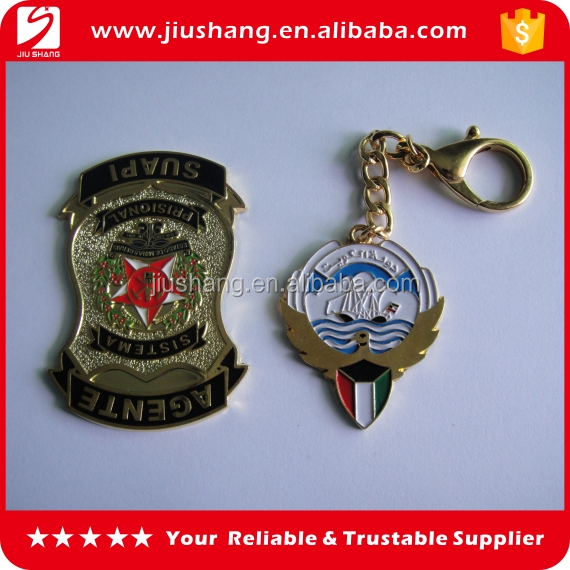 Wholesale customized metal badge clothing key chain for sale