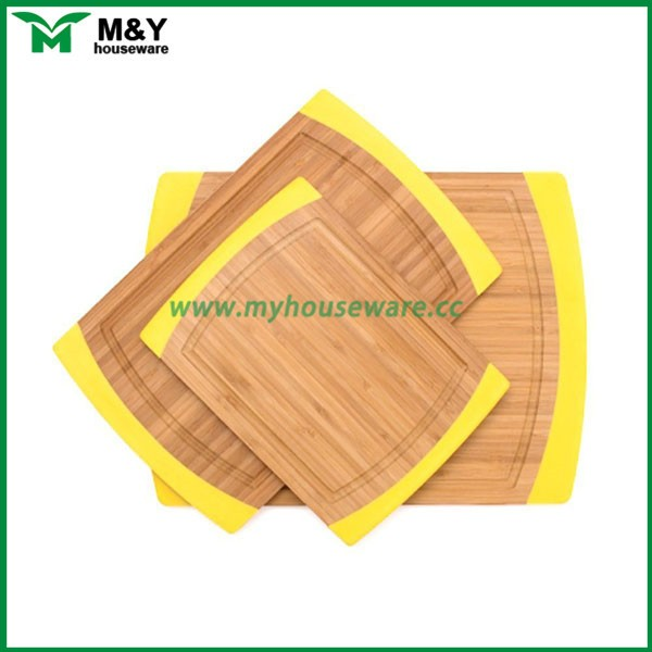Customized colorful rubber edge bamboo cutting board sets