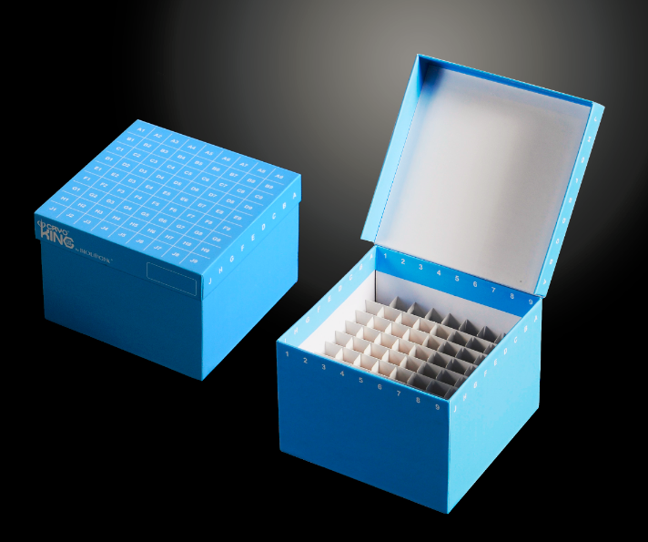 "CryoKING 3.75"" ID-Color Box Hinged Lid Alphabic 81-well in 9x9 Array for 5ml vials PP divider 3.75 inch Freezer Boxes"