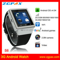 Android Smart Watch,2014 New Arrival Wristwatch SMS Bluetooth Android Watch Phone S6 ZGPAX