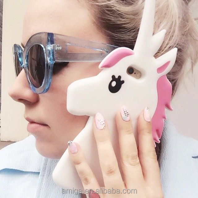 2016 Hot Stylish 3D Cartoon Cute Candy Pink Color Unicorn Silicone shockproof Case for Iphone 7