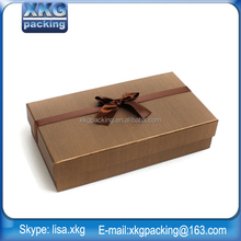Matte or glossy laminated kraft fancy paper box for shopping/jewelry,paper gift box with twisted ribbon handle