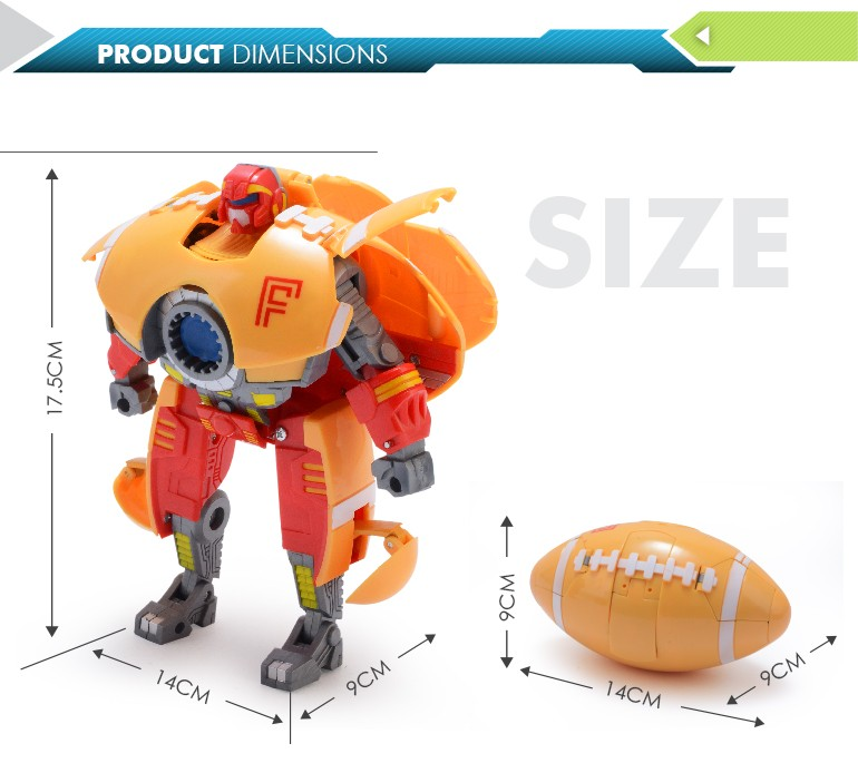 most popular items rugby transformable robot toy with high quality