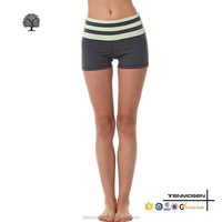 Wholesale fitness wear womens striped waistband yoga shorts compression sports short
