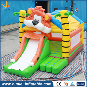 Guangzhou Factory customized inflatable tiger bouncer castle with slid for kids
