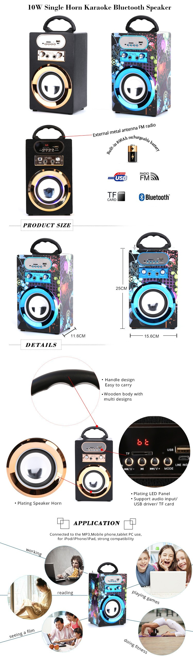 New arrival portable bluetooth karaoke speaker with USB/SD/AUX-IN/FM Radio