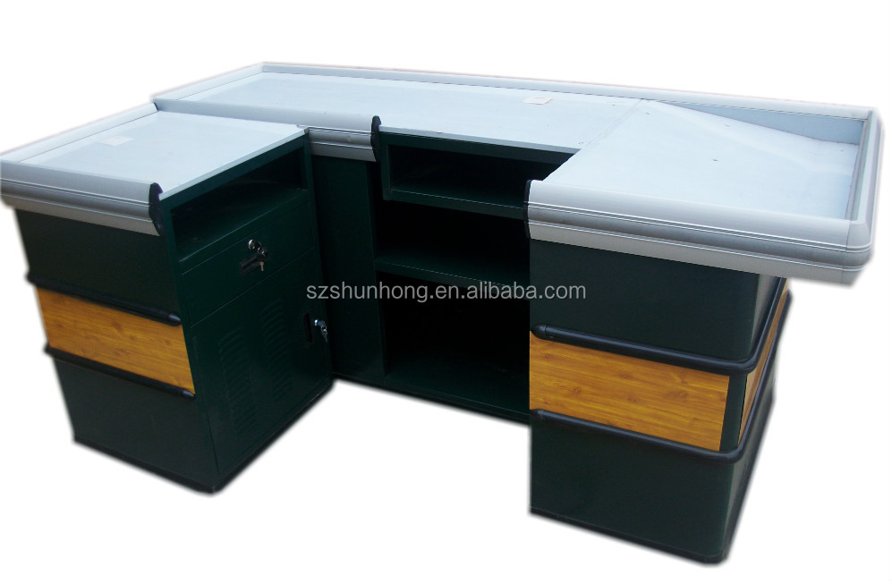 metallic material checkout cash register table