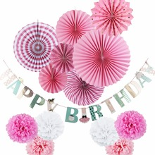 New Pink Theme Happy Birthday Party Decorations Set for Kids Party Supplies