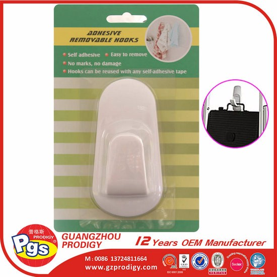 Permanent adhesive clothes hook