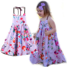 New Designs Summer Floral Dresses For Teen Girls Wholesale Tie Dress