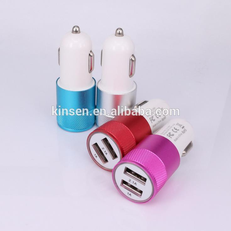 Colorful 3.1A Aluminum 2 Port Dual USB Car Charger,Multi Port USB Charger.