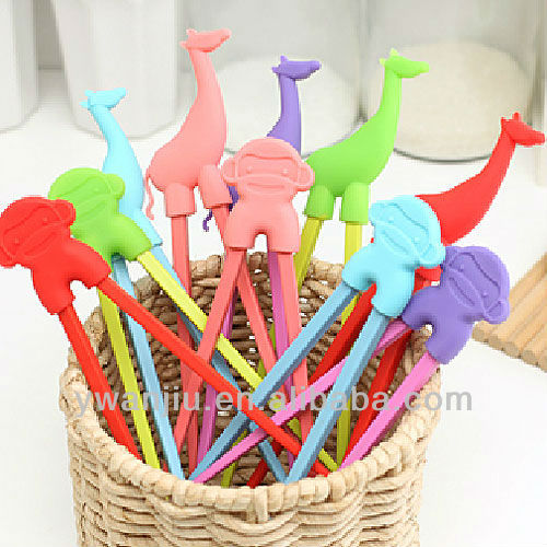 Supply Creative fashion Candy color silicone animal chopstick