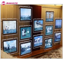High Brightness Cable Suspension LED Crystal light box for real estate agents window display