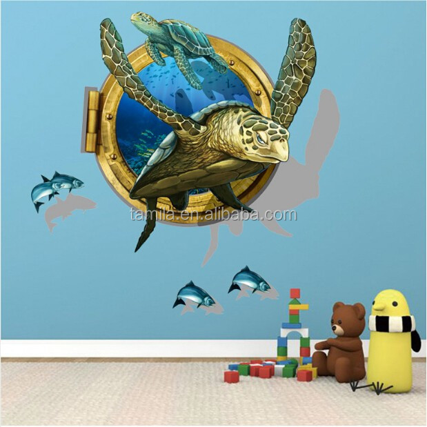 Submarine Murals,3d Window View Ocean Wall Sticker Wall Decals Stickers Removable for Bedrooms sea turtle