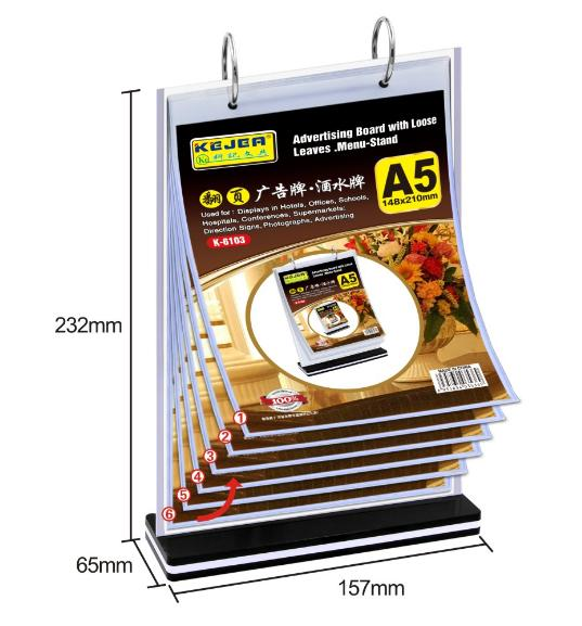 A4 A5 A6 Acrylic page turing menu holder display stand custom available
