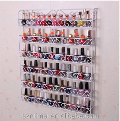 Professional multi-tier wall mounted display stands nail polish rack