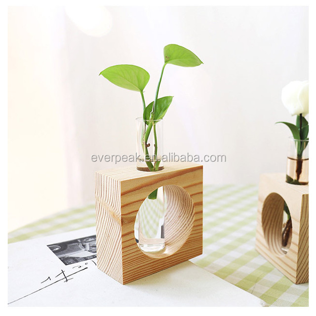 Crystal Glass Test Tube Vase in Wooden Stand Flower Pots for Hydroponic Indoor plants that grow in water