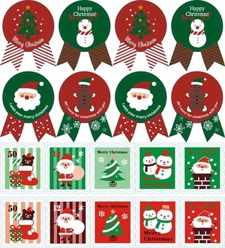 Custom cheap Christmas Waterproof Removable Paper Stickers