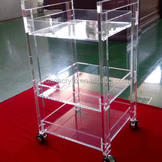 Acrylic Hospital Side Table Crystal Clear Acrylic Trolley With Wheels