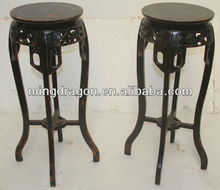 Chinese antique black wooden carved flower table