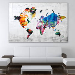 Wholesale Large Size Handpainted Modern Wall Art Canvas of World Map Oil Painting