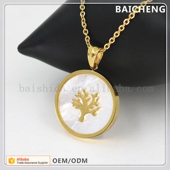 Golden yellow Pendant Timepiece Shape pendant Life tree on the white shell pendant