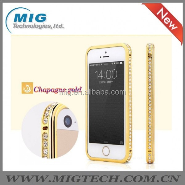 2014 new Pproduct Hot Bling Diamond crystal AL metal bumper phone case for phone 5, for iphone 5S China Supplier 4 colors