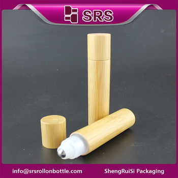 Hot sale plastic essential oil bottle and 20ml bamboo roll on bottles with metal ball