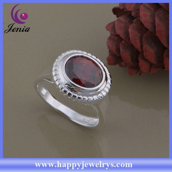 Factory direct price red zircon rig 925 silver plated wholesale new model ring (AR981)