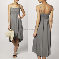 Women New Design Fancy Gray Spaghetti Strap Chiffon Maxi Dress Short In Front And Long In Back
