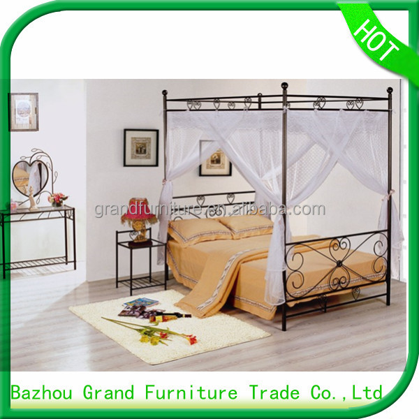 European new style metal queen canopy bed for home furniture