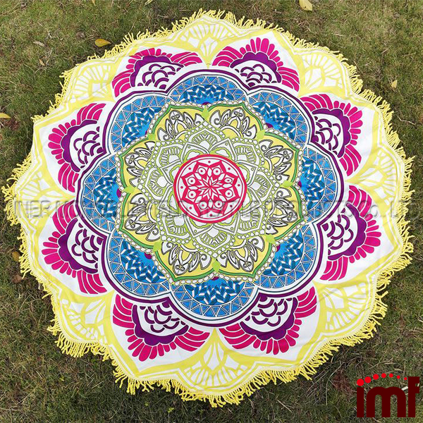 Large Round Lotus Flower Mandala Tapestry Beach Towel Blanket