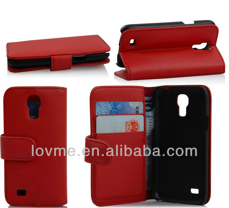 Book Type Leather Case Wallet Stand for Samsung I9190 Galaxy S4 mini