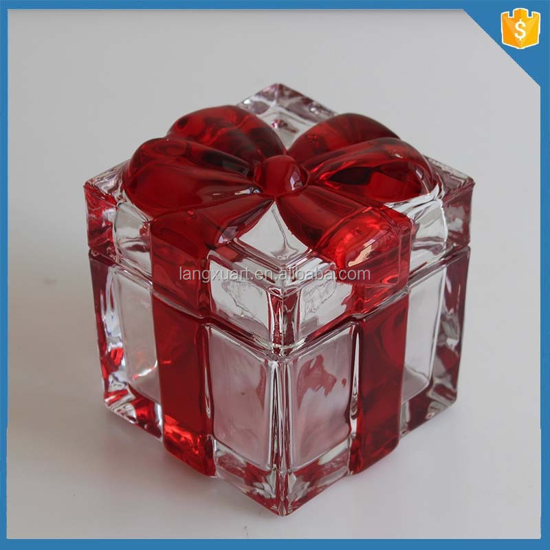 red sprayed ribbon wedding favor gift colorful glass sugar bowl with lid