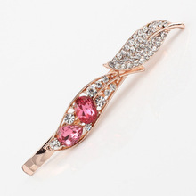 The leaf leaves shaped alloy hair clip with full colorful rhinestone and crystal for girls hairpins
