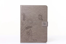 Hot sell wholesale Luxury butteryfly pattern wallet Leather Case for ipad 4