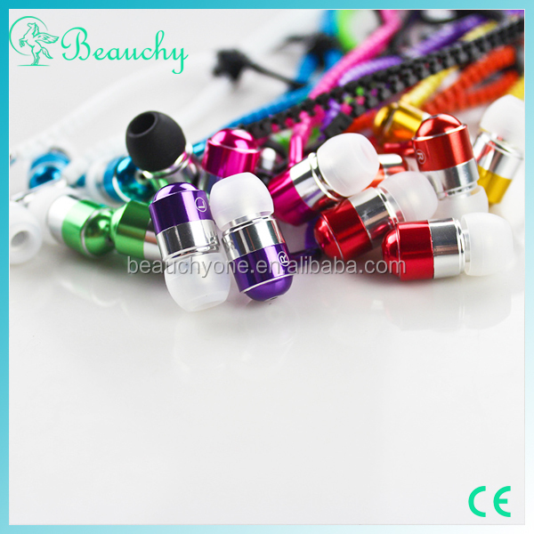 Free sample China supplier for iphone/samsung Colorful Earphone headphones with Microphone zipper headphones for both ears