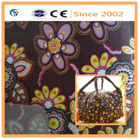 Flowers printing polyester satin fabric with pvc foam