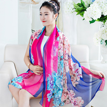 2017 New Design Flower Printed Fashion Silk Voile Scarf For Women