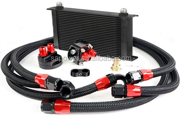 BLACK UNIVERSAL 25 ROWS ENGINE OIL COOLER+ALUMINUM OIL FILTER/COOLER RELOCATION KIT+3PCS BLACK NYLON BRAIDED HOSE LINE+ADAPTER
