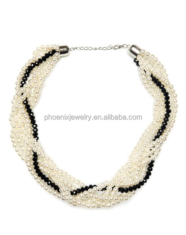 Rhodium Plated Multi-strand White Faux Pearl Chunky Necklace for Fashion Women Matching Black Roundel Crystal Bead Gifts NLC0081