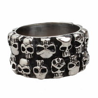 Fashion Wide Stainless Steel Skull Eternity Band Gay Men Ring