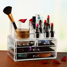 High quality cheap price crystal acrylic make up cosmetic jewelry display organizer box with 4 drawer