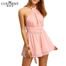 New arrival fashion lady pink backless sleeveless sexy short jumpsuits for women