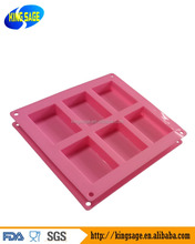 Homemade Craft 6 cavity Plain Rectangle Soap DIY Mold Silicone Cake Mould