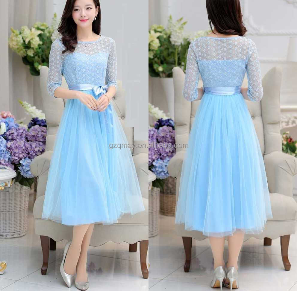 fat ladies new model fashion knee length long sleeves formal lace dress fabric designs wedding lace evening dress patterns blue