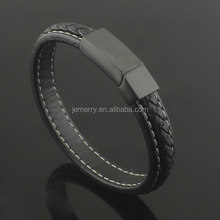 New Black Genuine Leather Stainless Steel Fashion Mens Chain Magnet Buckles Clasp Bracelet