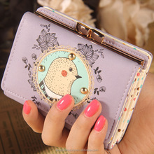 Fashion Smart Cartoon Cute PU Leather Chicken Head Wallet For Girl Woman Wholesale