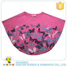 Latest unique design butterfly pattern printing baby girls shirts