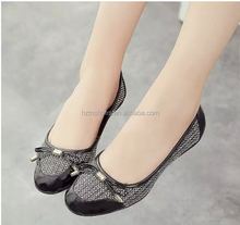 Factory Sale cheap price high quality Autumn pu like leather upper bowtie female shoe